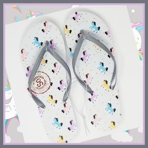 ☆ New Womans MultiColor Unicorn Pattern Flip Flops